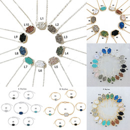 charms solitaire Coupons - New Druzy Stone necklaces Dangle Earrings Geometric Natural stone Pendant Charm Bracelet Rings For women Girls Fashion Jewelry in Bulk