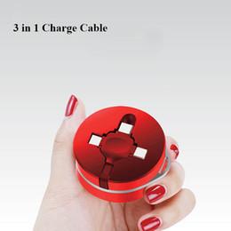 cable plano del teléfono celular Rebajas Premium Micro USB Type-C 3 en 1 Cable retráctil Cable de carga Cable de cargador plano de 1M 3 pies para iphone Android Tipo de teléfono celular-C