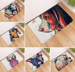 pavimento pintado Desconto Cão dos desenhos animados Tapete de Porta Cães Pintura Impressão Tapetes Anti-slip Tapete Tapetes Ao Ar Livre Animal Frente Porta tapetes