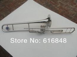 tubi in argento placcato Sconti Nuovo di alta qualità 3 chiavi tenore trombone 85 lega tubo di rame superficie placcata argento strumento musicale trombone per studente con bocchino