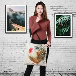 Мешочки с тотализатором онлайн-Customized cute chook strip print Women Handbag Linen cats style Tote Bag with Print Logo Casual Traveling Beach Bags 43cm*43cm