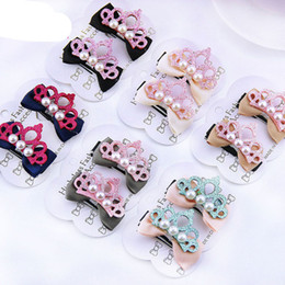 Estratto gratuito bei capelli online-New Fashion Kids Crown Peral Bowknot Hair Clip Bella principessa HairPins Barrettes Accessori per capelli Spedizione gratuita