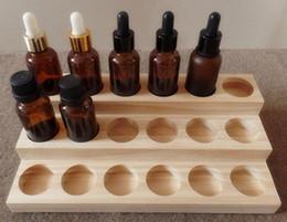 Suporte para bandeja de madeira on-line-Base de madeira carrinho de exposição para 30 ml frasco de vidro perfume óleo essencial e suporte para garrafa de líquido show case rack tray