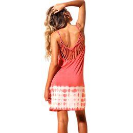4d0b10e8af Women Sexy Beach Dress Summer Chiffon Cover Ups Strappy Back Tie Dye Hollow  Out Backless Bikini Cover Beachwear Black Pink Robe