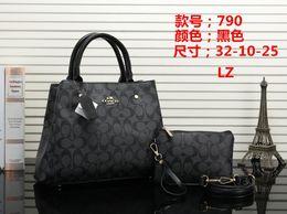 2019 bolso negro Bolso de las mujeres Embrague Negro Albaricoque Marrón Rojo Hombro Marca Premium Bolso de niña de dos piezas 32cm / 10cm / 25cm bolso negro baratos