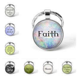 2019 citas de regalos de amor 2019 Fashion Bible Verse Faith Believe Love Bless Hope Inspiration Quotes Heart Key Chains Hand Craft Gift Keyring for Christian rebajas citas de regalos de amor