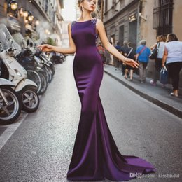 2021 vestidos de alfombra roja 2020 Purple Mermaid Prom Ball Dresses Jewel Neck sin mangas Vestidos de noche formales Crystal Bead Lentejuelas Long Celebrity Red Carpet Dress