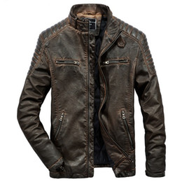 parkas for winter Promo Codes - Real Genuine Leather Jacket Men For Motorcycles Vintage Brown Black Parka Slim Male Winter Warm Casual Moto Biker Jacket Coat