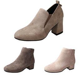 botas de aço azul Desconto 2020 Square head suede Martin boots women chunky heel ankle boots side low womens boots