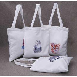 Kundenspezifische baumwolltaschen online-100 stücke Elfenbein Größe 31 * 36 cm Leinwand Baumwolle Einkaufstasche Benutzerdefinierte Logo Mode Frauen Eco Tasche Für Unternehmen Werbung Universität