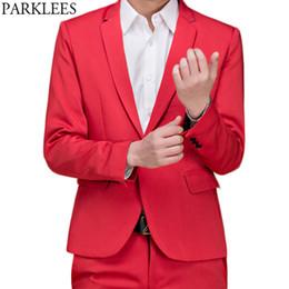 trajes de fiesta para hombre Rebajas (Chaquetas + Pantalones) Para hombre de la marca Red Tuxedo Vestido Traje Casual Slim Fit Trabajo Traje de novio de la boda Traje Singer DJ Party Bar Costume Homme