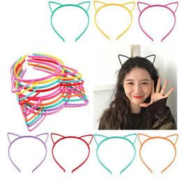 Linda diadema negra online-2019 Nuevo diseño de la muchacha linda venda del oído de gato de la banda de pelo niños de venta al por mayor caliente diadema negro