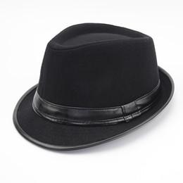 2019 melbourne cup hüte Wolle Männer Outback Filz Gangster Trilby Fedora Hut mit breiter Krempe Jazz Godfather Cap Szie58CM