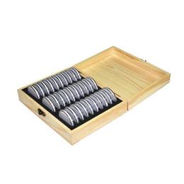 caixa de inicialização clara Desconto 30 caixa de madeira comemorativa da coleção da caixa de armazenamento da moeda da grade para 20/25/30/35 / 40Mm universal
