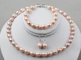 rosa süßwasserperlen halskette Rabatt Natürliche rosafarbene Reis-Frischwasserperlen-Halsketten-Armband, Ohrringe stellten S Formverschluss 9-10MM ein