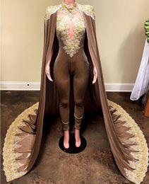 Vestido de veludo personalizado on-line-Krikor Jabotian Macacões Vestidos de Noite Com Manto Destacável Prom Vestidos Calças para As Mulheres Custom Made Lace Velvet