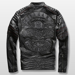2019 bandiera scamosciata giacca da motociclista da uomo harley giacca da motociclista da uomo in vera pelle di vacchetta ricamo pelle bovina slim