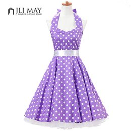 2019 schwarzes korsett stil prom kleid Jli Mai Frauen Vintage Kleid Sommer Sommerkleid Polka Dot 50er Jahre Hepburn Party Light Purple Sleeveless Halfter Sexy Womens Kleidung Y190410