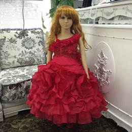 cb626454b Free Shipping One Shoulder Girl Party Dress 2019 New Design Kids Evening  Gowns Red Children Dresses With Bustle Organza Ruffles