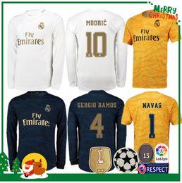 Uniformes de futbol de madrid real online-19 20 Real Madrid Soccer Jersey 2019 2020 PELIGRO Inicio KROOS ISCO Uniforme de fútbol Modric Hombre adulto Portero Camiseta de fútbol Manga larga