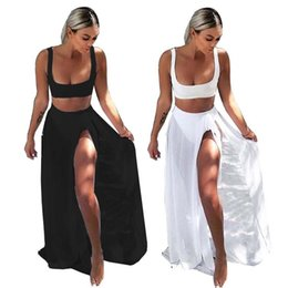 solid black ladies skirt suits Coupons - Wholesale Bandage Beach Skirt Leisure Suit Lady Sexy Solid Color Vest And Long Skirt Skirt Suit Street Style Gauze