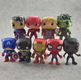 Argentina Vengadores 4 juguete Marvel DC Deadpool Pantera Negro Spiderman Thor Treen Man Thanos Venom POP Iron Man Flash PVC Figuras Juguetes 9 unids / set B11 Suministro