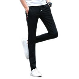 973ff3d1770 2019 New Casual Pants Men Elasticity Drawstring Pencil Pantalones Summer  Autumn Quick Dry Trousers Male Joggers Homme Gray Black