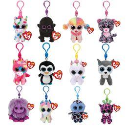 "Occhi gufi giocattoli online-Ty Beanie Boos Big Eyes Peluche Portachiavi Toy Doll Fox Owl Dog Unicorn Penguin Giraffe Leopard Monkey Dragon con Tag 4 ""10cm"