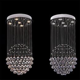 candelabros en forma de bola Rebajas Moderno K9 Araña de cristal Bolas cuadradas En forma de araña de cristal Iluminación LED Villa de lujo Duplex Hotel Luz de escaleras