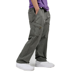 2019 pantalones multi color caqui FAISIENS 4XL 5XL 6XL Tallas grandes para hombre Pantalones de carga Pantalones multibolsillos para hombres Pantalones holgados ocasionales Caqui Negro Ejército Verde Hombres pantalones rebajas pantalones multi color caqui