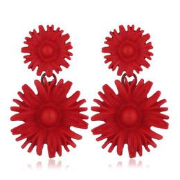 Fiori rossi coreani online-Orecchini fiore rosso per donna estate coreana Orecchini orecchino 2019 Metallo grande giallo blu floreale orecchini pendenti gioielli moda