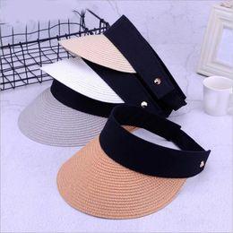 24b287fb New Fashion Summer Hats Women For Folding Sun Visor Empty Top Outdoor Sea  Beach Hat Female Wide Brim Sun Hat Female