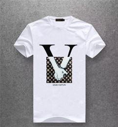 Schwarzer wolfkragen online-Schwarz-Weiß 0-Kragen T-Shirt Neue Mode Brust Druck Wolf T-Shirt Kurzarm Freizeit T-Shirt Hipster Fraktal Patterns # 5530