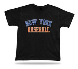 Camiseta branca laranja on-line-Nova Iorque BASEBALL t-shirt tee azul orange branco NY EUA verão vestuário campo en Mulheres Unisex Moda tshirt Frete Grátis