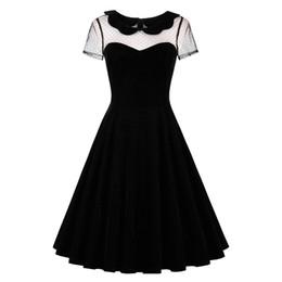 Sisjuly женщин старинные летние платья черный готический с коротким рукавом сетки прозрачный рокабилли платья элегантные дамы платье от Поставщики xl vintage смотреть через платья