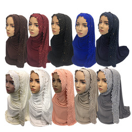 2019 écharpes de hijab de dentelle Coton Musulman Hijab Foulard Femmes Châle Turban Islamique Femmes Dentelle Foulard Musulman Foulard Châle 10 Couleurs écharpes de hijab de dentelle pas cher