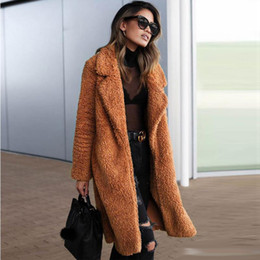 Женская Шерпа длинное пальто зима открытый фронт кардиган флис куртка пальто из искусственного меха теплое пальто верхняя одежда от