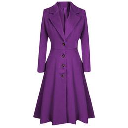 2020 фиолетовое весеннее пальто Шерстяные пальто женщин отворотом кнопки Длинные пальто куртка Элегантный фиолетовый дамы Parka Шинель 2020 Весна Одежда Верхняя одежда # T15 дешево фиолетовое весеннее пальто