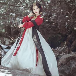 ropa china tradicional rojo Rebajas Hanfu Vestido de Mujer / Damas Elegantes Ropa Hanfu Roja China trajes tradicionales chinos trajes antiguos Falda de Danza Popular DQL349