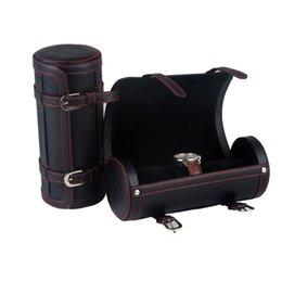 orologio in pelle vera Sconti Guarda Boxs 3 posizioni della scatola Scatole da tavolo stoccaggio Nuova alta qualità Orologi Box Genuine Leather contenitori di vigilanza rotonda