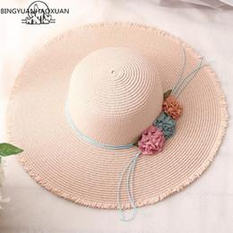Modelli di cappello da spiaggia online-BINGYUANHAOXUAN 2018 Hot grande bordo dei cappelli di Sun per i modelli padre-figlio pieghevole del cappello di paglia Donna Casual Ombre Estate cappello della spiaggia