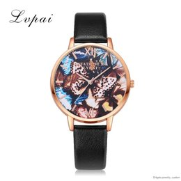 Relógio rosa borboleta em couro dourado on-line-Top Marca Mulheres Moda Relógios De Luxo Rose Gold Butterfly Relógios De Couro Relógios