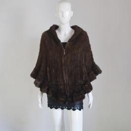 коричневый вязаный пончо Скидка AU467 женщины норки пончо молния закрытия 2019 мода ручной вязать украл коричневый реальный пончо