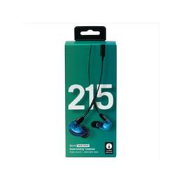 Maçã caixa azul on-line-Fones de ouvido SE215 Na orelha Especial Versão Azul Com Cancelamento de Ruído Fone de Ouvido Com Fio estéreo Hi-fi com Caixa