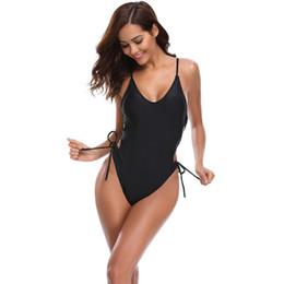 aprire indietro un pezzo swimwear Sconti Womens scollo Sling Sexy Bikini Costume intero aperta Back Side cinghie da bagno del vestito di nuotata nero superiore di bikini inferiore a vita alta Costumi da bagno