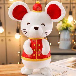 gros porte-clés de ours en peluche Promotion 2020 Rat Année Kawaii Chine Robe Mascot Rat En Peluche Souris en costume Tang Peluche Jouets Nouvel An Chinois Décoration de Fête Cadeau