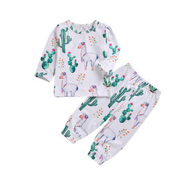 infants pajamas Promo Codes - Llama cactus cartoon infant baby clothing set boys girls unisex pajamas long sleeve top+pants outfits baby clothes 0-24M kid boutique