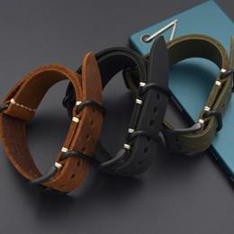 2019 22mm sangle zulu Envoyer l'outil + 20MM / 22MM / 24MM / 26MM Bracelet en cuir véritable Bracelet de montre pour l'OTAN ZULU Straps Haut de gamme noire Brown hommes verts Bracelet promotion 22mm sangle zulu