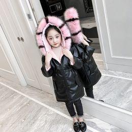 chaqueta de cuero para niños niña Rebajas Capa de la manera de la PU Largo Invierno Niño impermeables de cuero de cuero de la niña cálida lana de niños Ropa de abrigo para niños trajes para 110-155cm