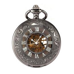 Мужчины Ажурный узор № 3 Механические карманные часы Черная ракушка Черная поверхность Рим Темно-серебристый каркасные карманные часы Dropshipping от